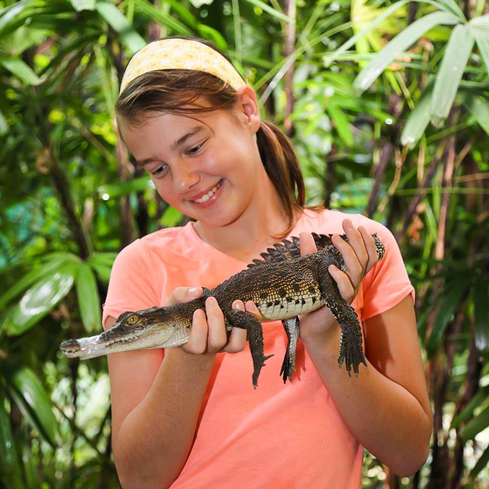 girl holding baby crocodile wildlife habitat port douglas