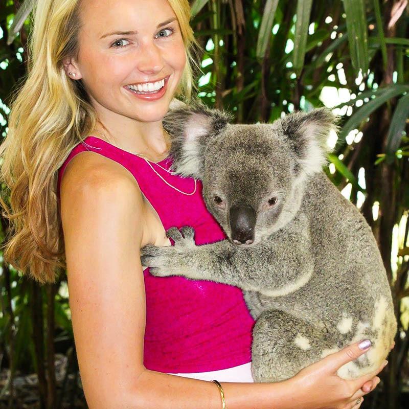 lady holding koala and having photograph with koala