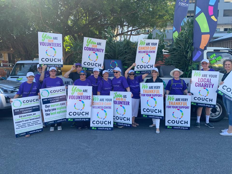 couch at cairns festival parade 2019